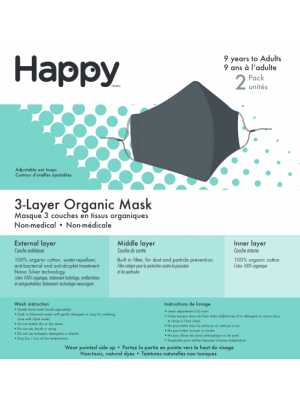 Happy Natural Products Tri-Layer Face Mask Adult Charcoal