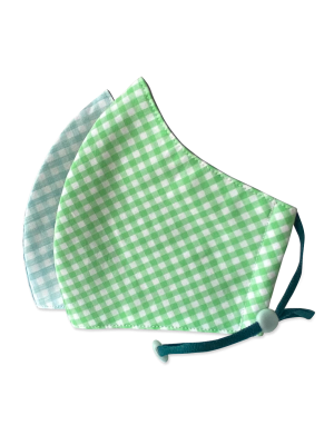 Happy Natural Products Organic Cotton Masks Kids Grn/Blue Checkers