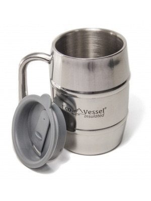 Eco Vessel Double Barrel Insulated Stainless Steel Mug With Lid