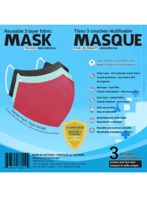 Sequence Health Ltd. Antibacterial Mask Kids 3 Pack Assorted Colours