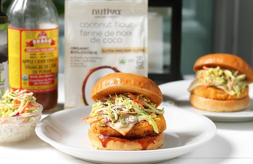 Barbecue Chickpea Veggie Burgers with Coleslaw Recipe