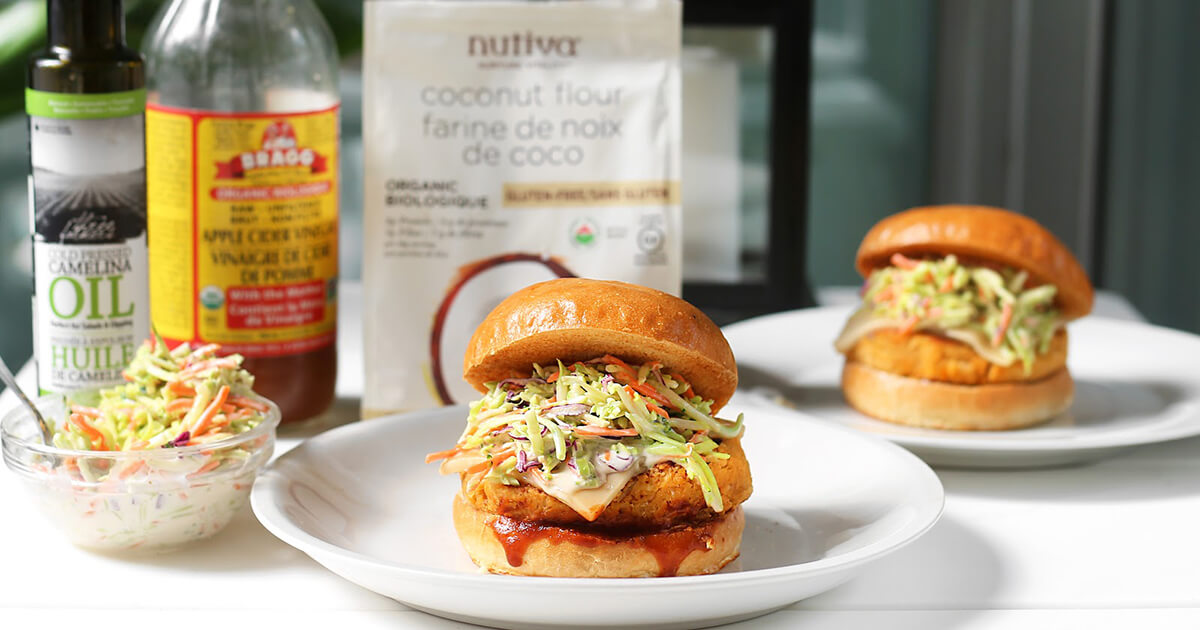 Barbecue Chickpea Veggie Burgers with Coleslaw Recipe | Vitarock